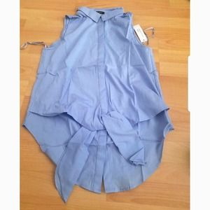 🎁 Blue Sleeveless Front Tie Blouse Shirt Top L